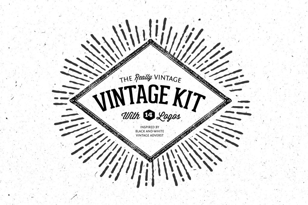 three vintage logos with different shapes: circle, oval and square