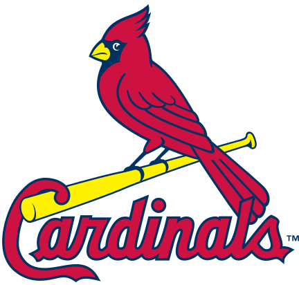 "The St. Louis Cardinals' logo which contains three parts: a red cardinal, a yellow baseball bat and its team name ""Cardinals""."