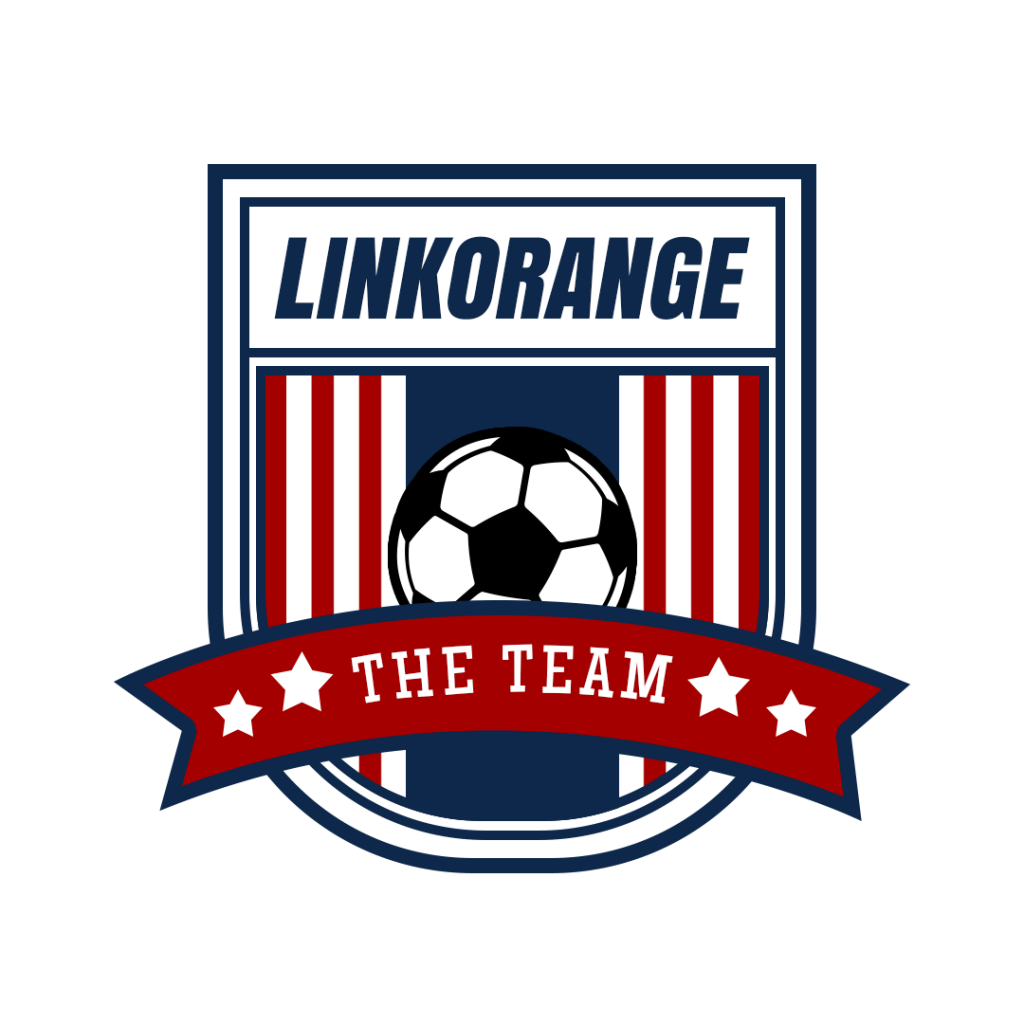 A football club logo which has some classic factors of a football club such as the background color which is similar to the American flag, the image of a football and the red ribbons of victory.