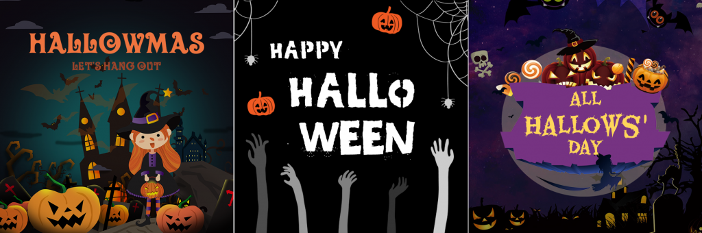 There are three Halloween logos come form Logo Maker with three ways of saying Halloween: Hallowmas, Halloween and All Hallows'Day.