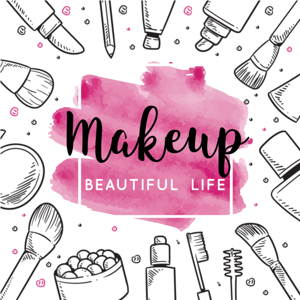 One of the three makeup logos: Makeup where is a circle of makeup toiletries around the brand name and has a pink background.