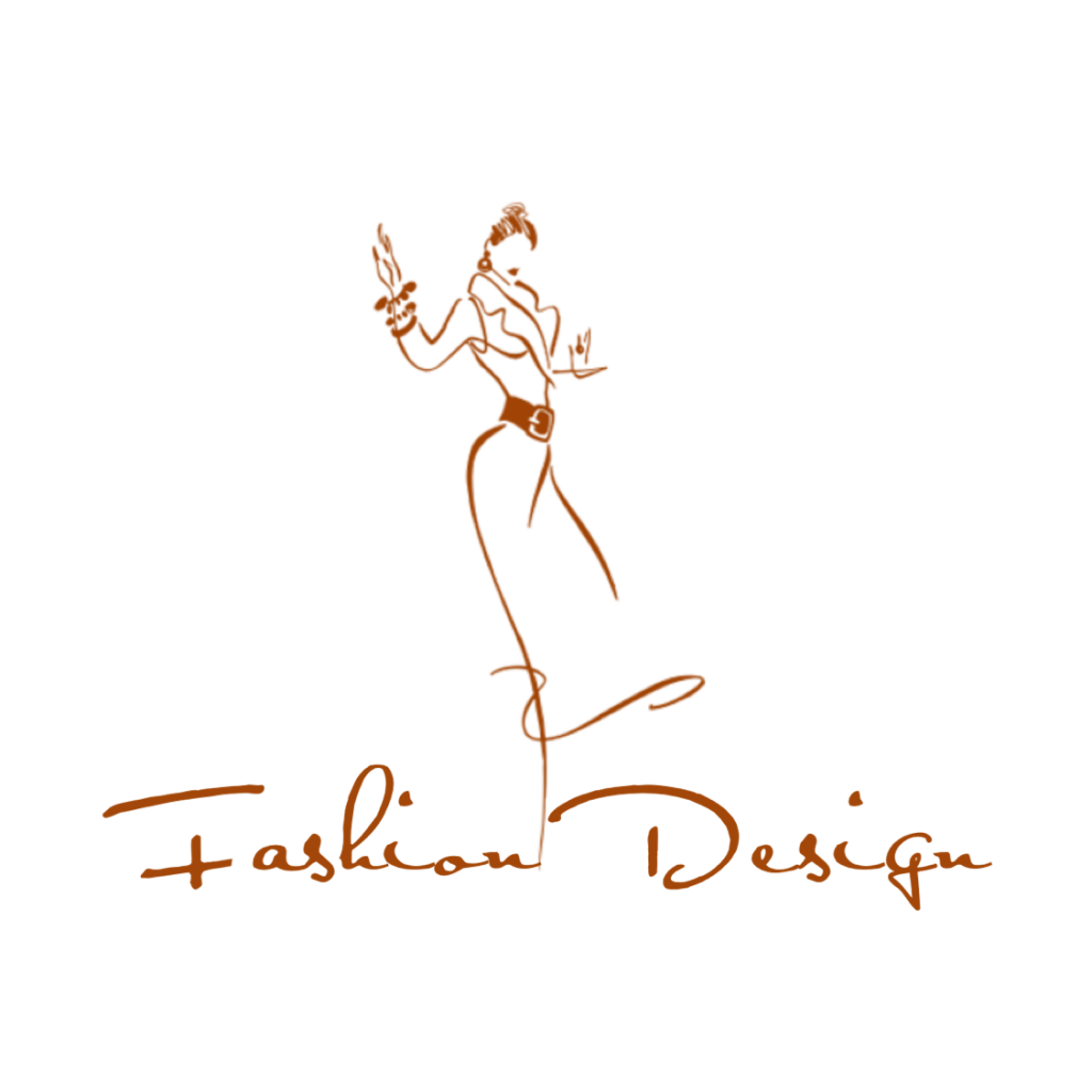 "One of the three makeup logos: This fashion design logo uses downy lines to draw an outline of a fashionable woman and the logo name ""Fashion Design""."