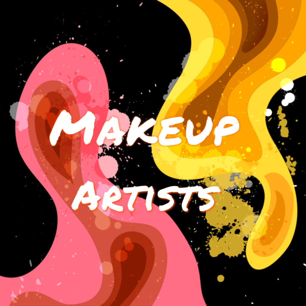 One of the three makeup logos: Makeup Artists. The combination of the artistic characters in the front and the unique background behind the logo makes it a strong impact on people.