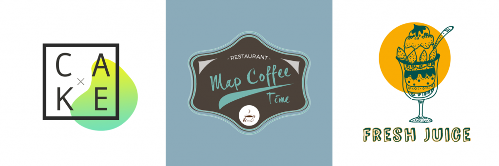 Three restaurant logos from Logo Maker