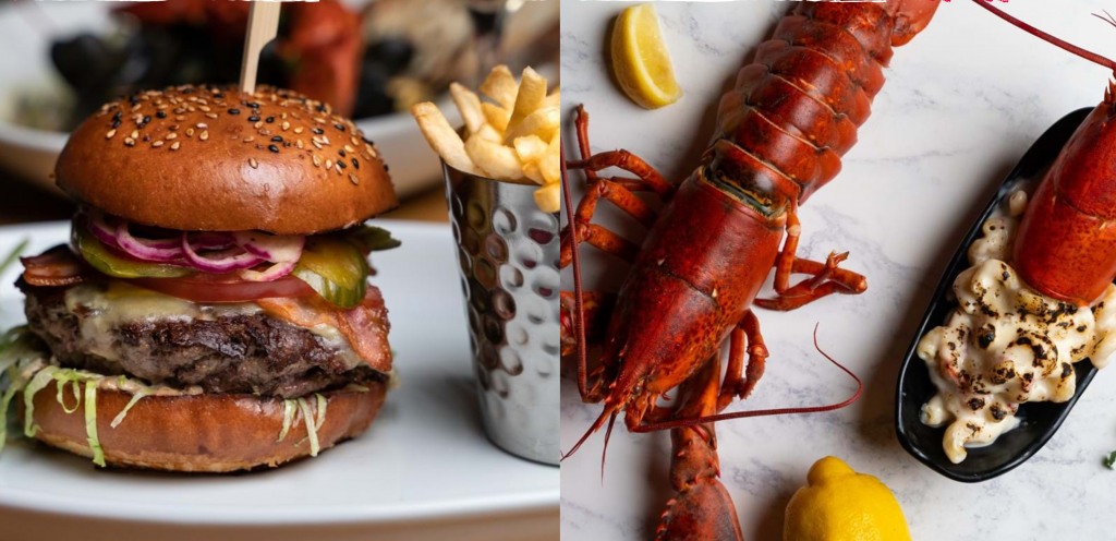 Restaurant logo name and specialties:Burger & Lobster