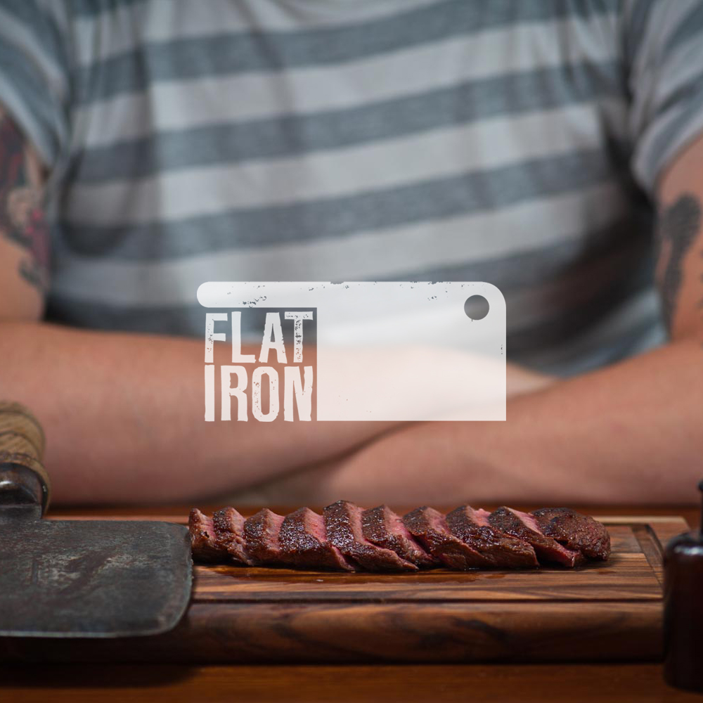 Restaurant logo name and specialties:Flat Iron Steak