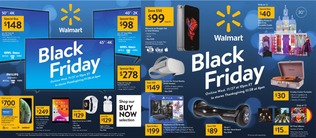 Walmart's discount informations on Black Friday
