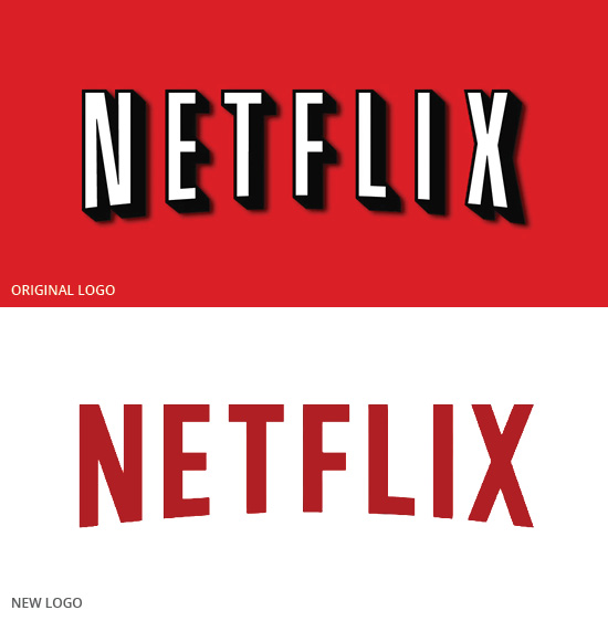 The logo change and trend of Netflix