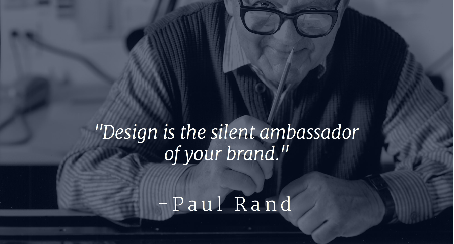 A quote from Paul Rand talks about the importance of logos to brands.